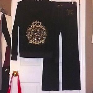 🔥Juicy Couture NWOT Velour Black/Gold Track Suit